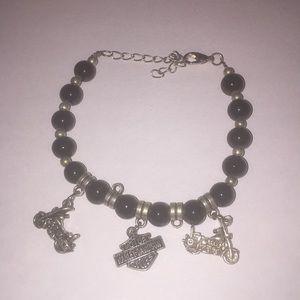 Jewelry - Black bead motorcycle theme charm bracelet